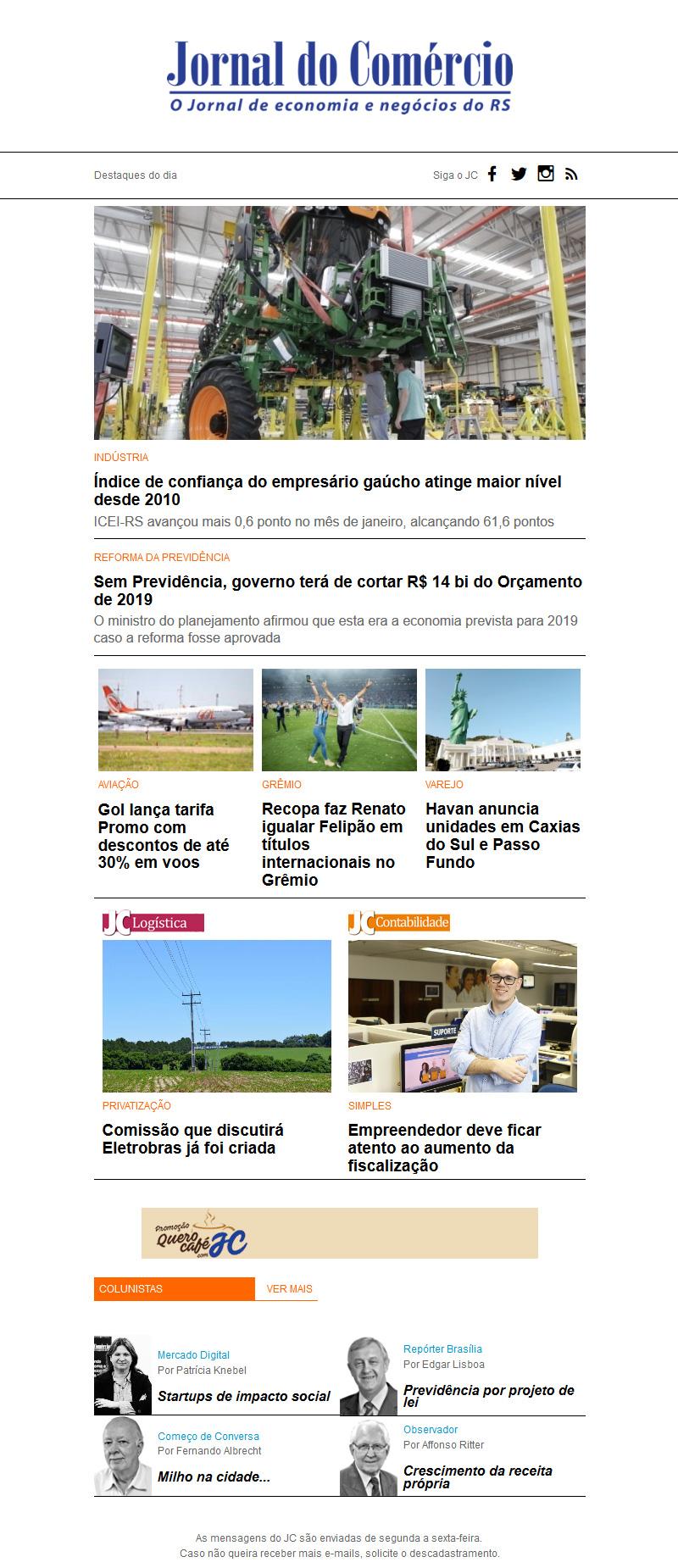 Newsletter Jornal do Comércio